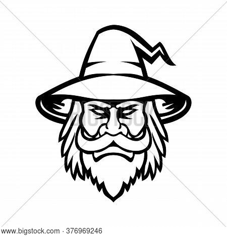 Mascot Icon Illustration Of Head Of A Black Wizard, Sorcerer Or Magician, A Practitioner Of Magic An