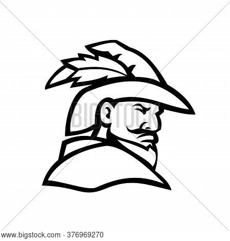 Mascot Icon Illustration Of Bust Of A Green Archer Or Robin Hood Viewed From Side On Isolated Backgr