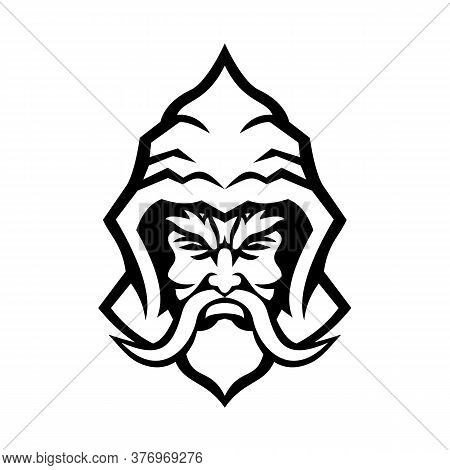 Mascot Icon Illustration Of Head Of A Wizard, Sorcerer Or Warlock, A Practitioner Of Magic Derived F