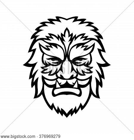 Mascot Icon Illustration Of Head Of A Circus Wolfman Or Wolfboy, A Circus Freak Or Curiosity Viewed