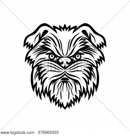 Mascot Black And White Illustration Of Head Of An Affenpinscher, Monkey Terrier, Affen, Affie Or Mon