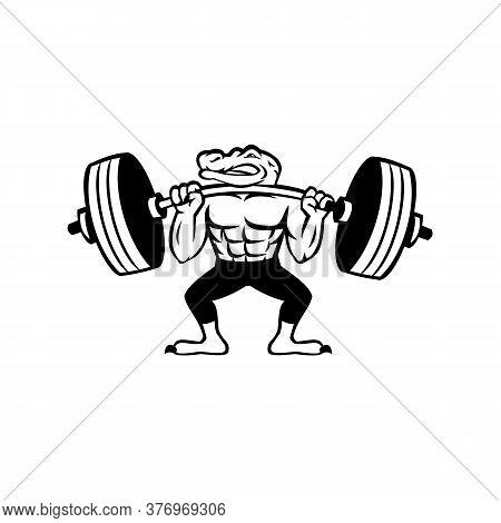 Mascot Icon Illustration Of An Alligator, Gator, Crocodile Or Croc Lifting A Heavy Barbell Weight Tr