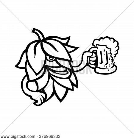 Mascot  Black And White Illustration Of A Beer Hops, Flower Or Seed Cones Or Strobiles Of The Hop Pl
