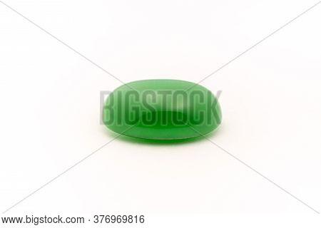 Green Gemstone Jade Nephrite On White Background
