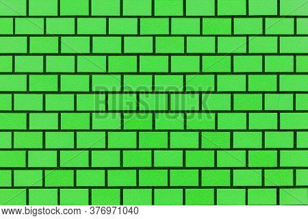 Green Brick Wall Texture And Seamless Background. Brickwork Or Stonework Flooring Interior Rock Old