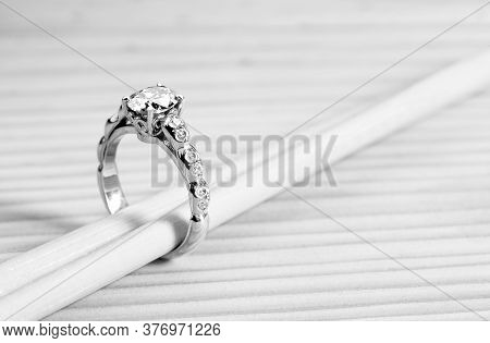 Vintage Engagement Diamond Ring. Precious Jewelry Ring