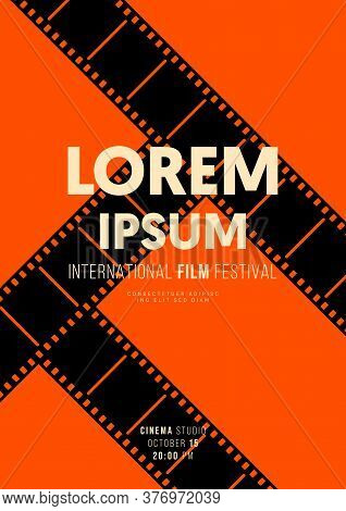 Movie And Film Poster Design Template Background Decorative With Filmstrip. Graphic Design Element C