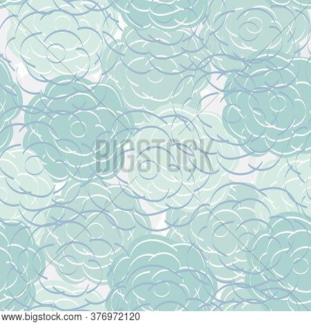 Vector Flowers In Aqua Green Blue On White Gray Background Seamless Repeat Pattern. Background For T