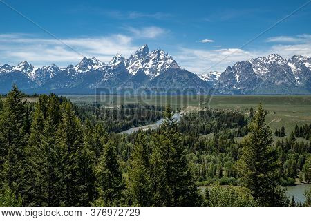 Grand Teton National Park As Seen From The Snake River Overlook