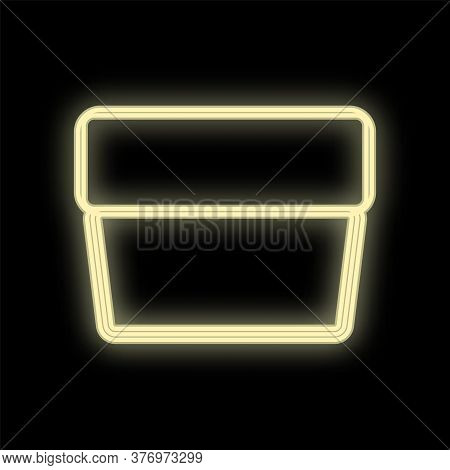 Jar Of Cream In White Neon Color On A Black Background. Rectangular Packaging With Face Cream. Beaut