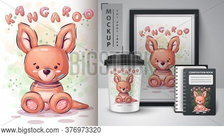 Teddy Kangaroo Poster And Merchandising. Vector Eps 10