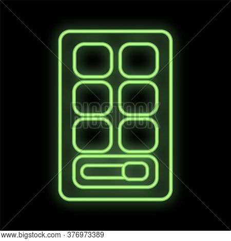 Bright Green Neon Palette With Shadows On A Black Background. Eye Makeup In Different Colors With A