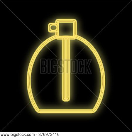 Bottle With A Bright Yellow Neon Perfume For Splashing On The Body On A Black Background. Perfume Wi