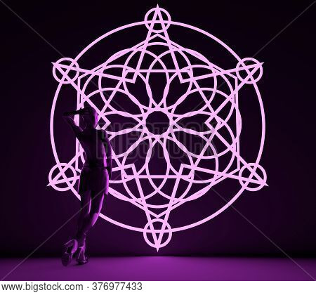 Woman Backlight Silhouette. Neon Shine Mystical Geometry Symbol. Linear Alchemy, Occult, Philosophic