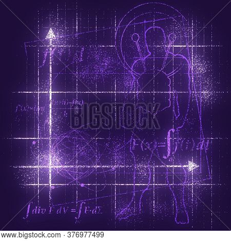 Abstract Futuristic Thin Line Pattern With Math Formula, Human Silhouette And Geometry Shapes. Math