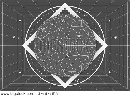 Mystery, Witchcraft, Occult And Alchemy Geometry. Mystical Vintage Gothic Thin Lines Style Backgroun