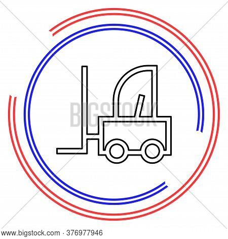 Forklift Icon, Warehouse Forklift, Power Lifting Symbol, Fork Lift Illustration. Thin Line Pictogram