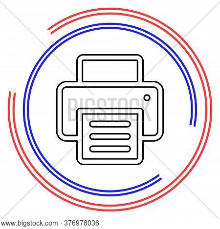 Vector Print Icon, Printing Button - Printing Sign And Symbol, Document Print. Thin Line Pictogram -