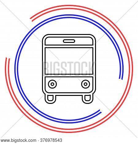 Vector Bus Illustration - Shuttle Bus Symbol, Travel Icon. Thin Line Pictogram - Outline Editable St