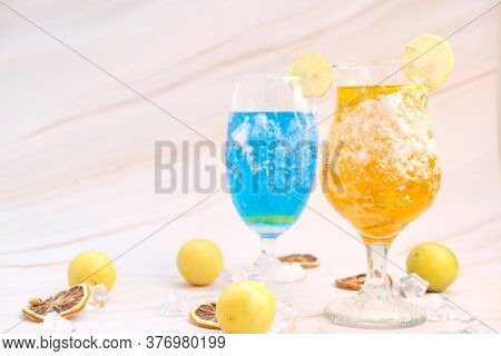 Alcoholic Cocktail And Non Alcoholic Cocktail On Table. Summer Cold Drinks With Lime