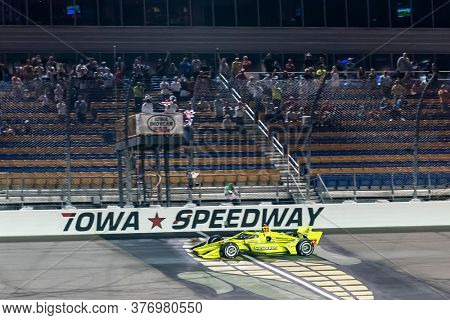 July 17, 2020 - Newton, Iowa, USA: Coming from the back of the field, SIMON PAGENAUD (22) of Montmorillon, France  wins the Iowa INDYCAR 250s at the Iowa INDYCAR 250s at Iowa Speedway