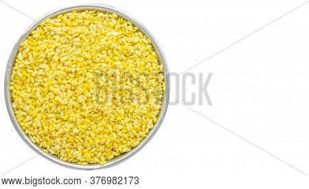 Soybean In Cup Isolated On White Background With Clipping Path