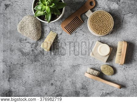 Body Care Health Concept Background With Copy Space. Natural Brushes, Homemade Soap, Pumice Stone, S