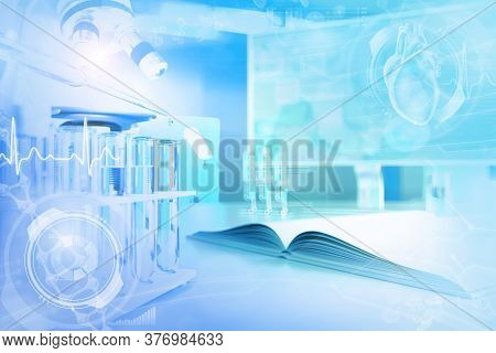 Scientific College Background Or Texture - Proofs And Microscope In Clinic - Conceptual Medical 3d I