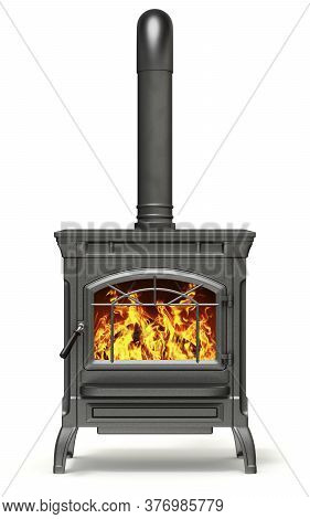 Wood Burning Stove With Fire Flame On White Background - 3d Illustration