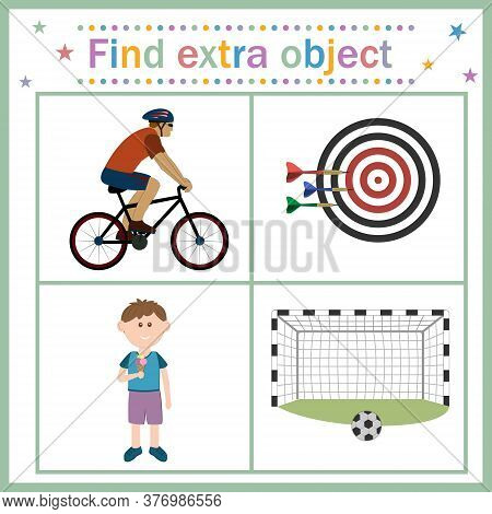 Map For Children's Development, Find An Extra Object, Sports Theme, Boy With Ice Cream Is An Extra P