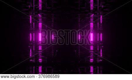 Mirrored Pink Emitting Light Post 4k Uhd 3d Illustration Background