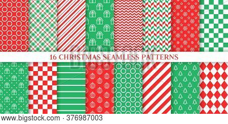 Xmas Seamless Pattern. Vector. Christmas, New Year Textures. Set Backgrounds With Zigzag, Tree, Gift