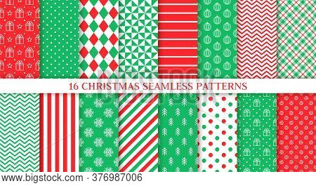 Christmas Seamless Print. Vector. Xmas, New Year Patterns. Set Backgrounds With Ball, Zigzag, Tree,