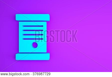 Blue Decree, Paper, Parchment, Scroll Icon Icon Isolated On Purple Background. Minimalism Concept. 3