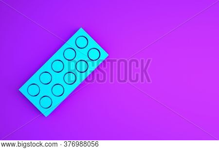 Blue Pills In Blister Pack Icon Isolated On Purple Background. Medical Drug Package For Tablet, Vita