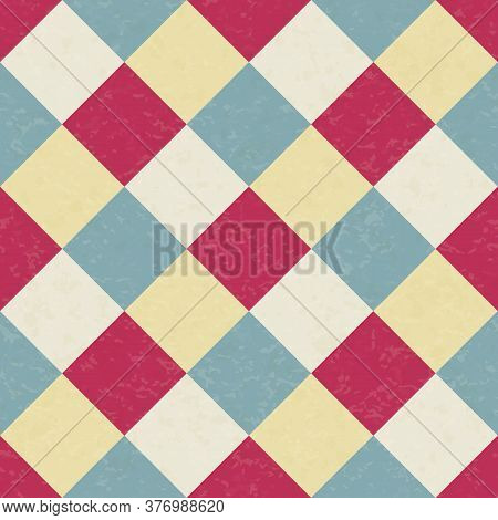 Circus Carnival Retro Vintage Dominoes Seamless Pattern. Argyle Diamond Shaped Rhombuses. Textured O
