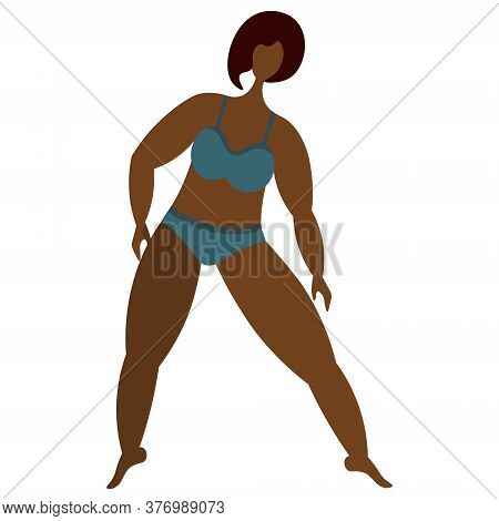 African American Girl Is Engaged In Aerobics. Vector Stock Illustration. Isolated White Background.