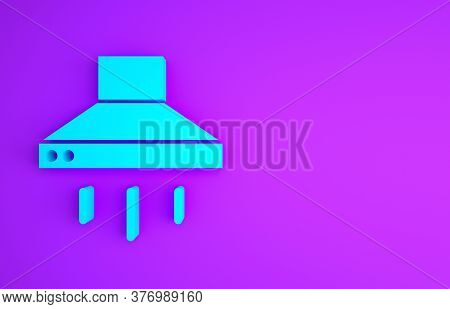 Blue Kitchen Extractor Fan Icon Isolated On Purple Background. Cooker Hood. Kitchen Exhaust. Househo
