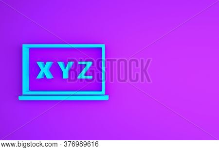 Blue Xyz Coordinate System On Chalkboard Icon Isolated On Purple Background. Xyz Axis For Graph Stat