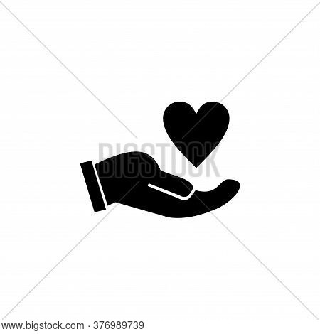 Hand Holding Heart Icon Isolated On White Background. Hold Heart Line Icon. Friends Love Sign. Brand