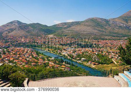 Bosnia And Herzegovina, Republika Srpska. View Of Trebinje City And Trebisnjica River From Crkvina H