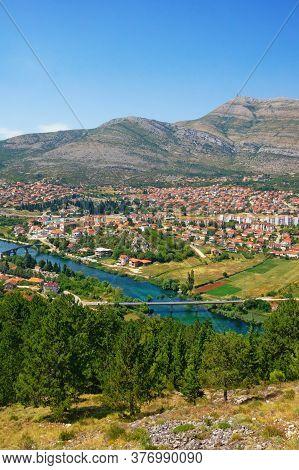 Beautiful Sunny Summer Landscape. View Of Trebinje City From Crkvina Hill. Bosnia And Herzegovina, R
