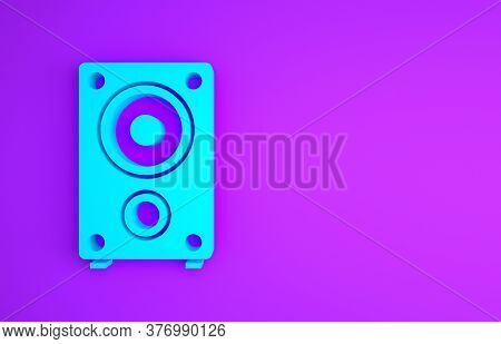 Blue Stereo Speaker Icon Isolated On Purple Background. Sound System Speakers. Music Icon. Musical C