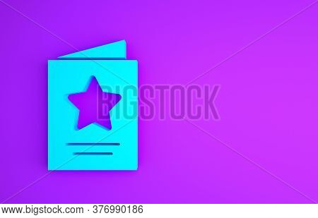 Blue Greeting Card Icon Isolated On Purple Background. Celebration Poster Template For Invitation Or