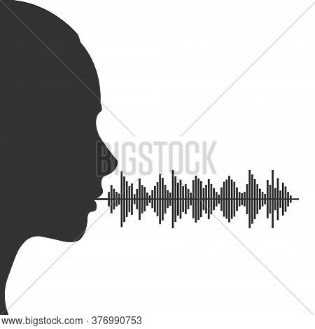 Voice Range Women. Silhouette Of A Female Head Voice Range. Vector Illustration For Theme Design Iso