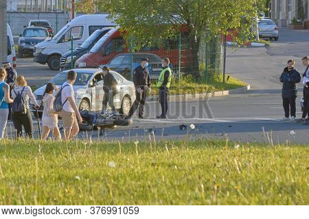 Saint Petersburg, Russia-may, 2020: A Bike Crashed Into A Car A Motorcyclist Was Injured Police Inve