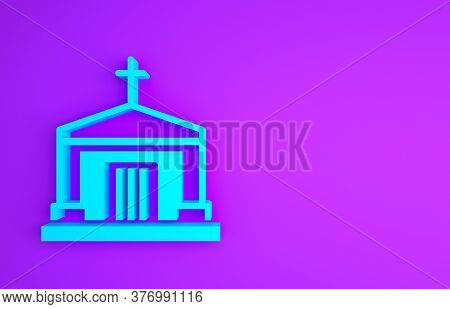 Blue Old Crypt Icon Isolated On Purple Background. Cemetery Symbol. Ossuary Or Crypt For Burial Of D