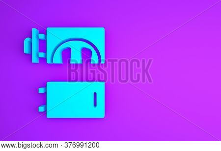Blue Crematorium Icon Isolated On Purple Background. Minimalism Concept. 3d Illustration 3d Render