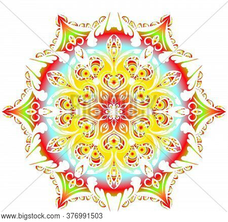 Mandalas For Coloring Book.vector Beautiful Mandala.vector Illustration. Black,  Red , Green And Yel