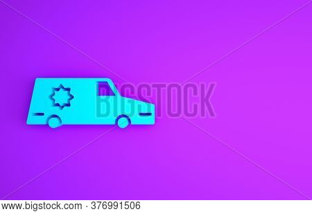 Blue Hearse Car Icon Isolated On Purple Background. Minimalism Concept. 3d Illustration 3d Render
